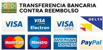 Puedes pagar tus compras con Tarjeta de crédito, Paypal, Contra Reembolso y Transferencia Bancaria